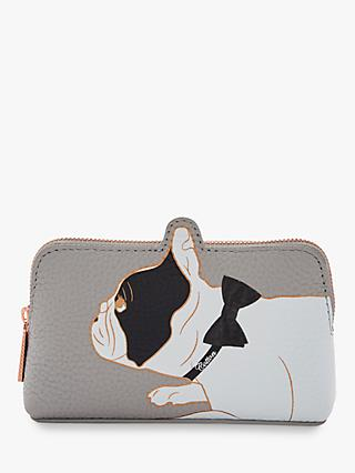 Ted Baker Prilla Bulldog Leather Make Up Bag, Grey