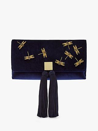 Ted Baker Kasia Dragonfly Embroidered Clutch Bag Dark Blue