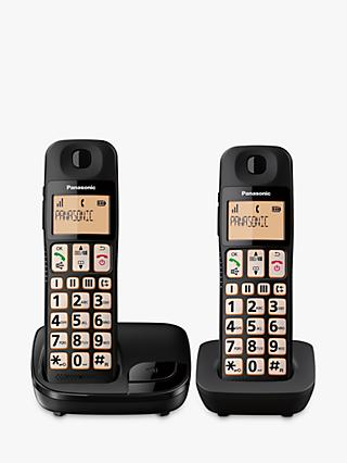 Panasonic KX-TGE112EB Digital Cordless Telephone with Nuisance Call Blocker, Twin DECT