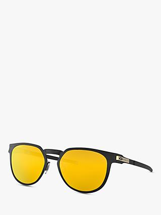 Oakley OO4137 Unisex Diecutter Polarised Oval Sunglasses, Black/Yellow