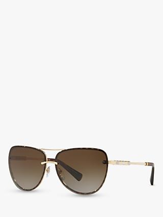 BVLGARI BV6113KB Women's Oval Sunglasses, Pale Gold/Brown