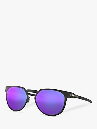 Oakley OO4137 Unisex Diecutter Polarised Oval Sunglasses, Black/Purple