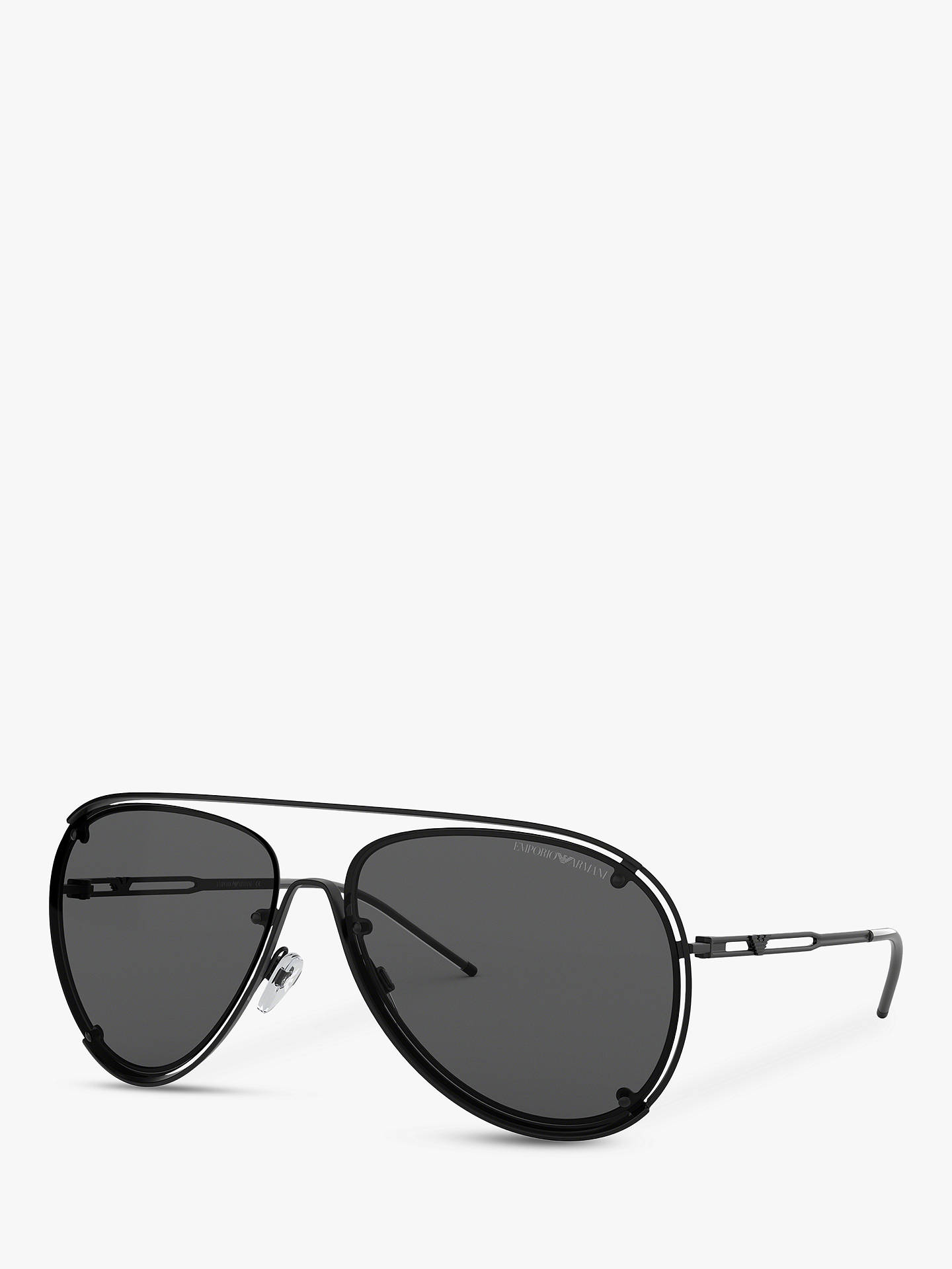 cdb33c52e51f Buy Emporio Armani EA2073 Men's Pilot Sunglasses, Matte Black/Grey Online  at johnlewis.