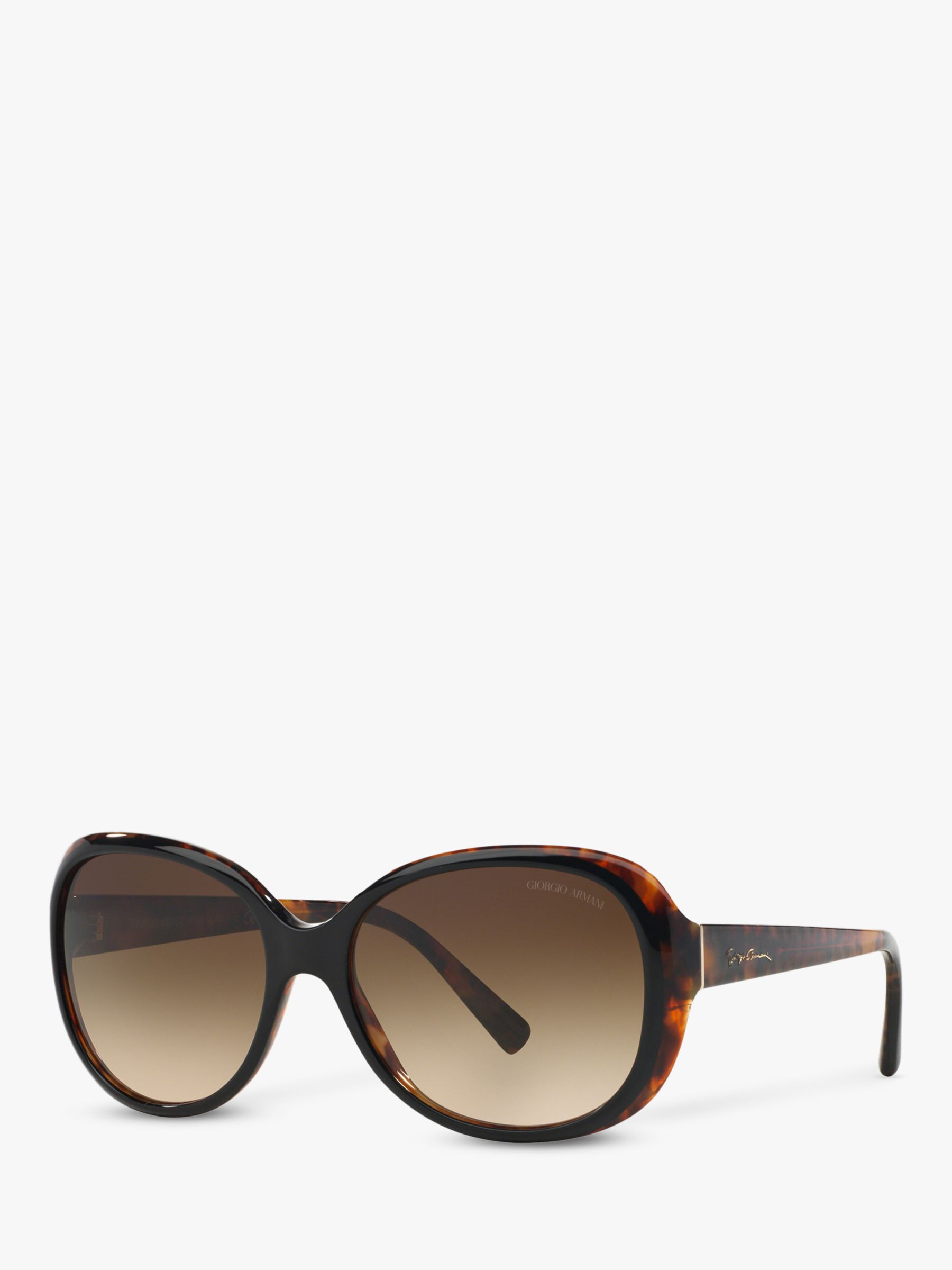9591e38e74 Giorgio Armani AR8047 Women's Round Sunglasses, Black Havana