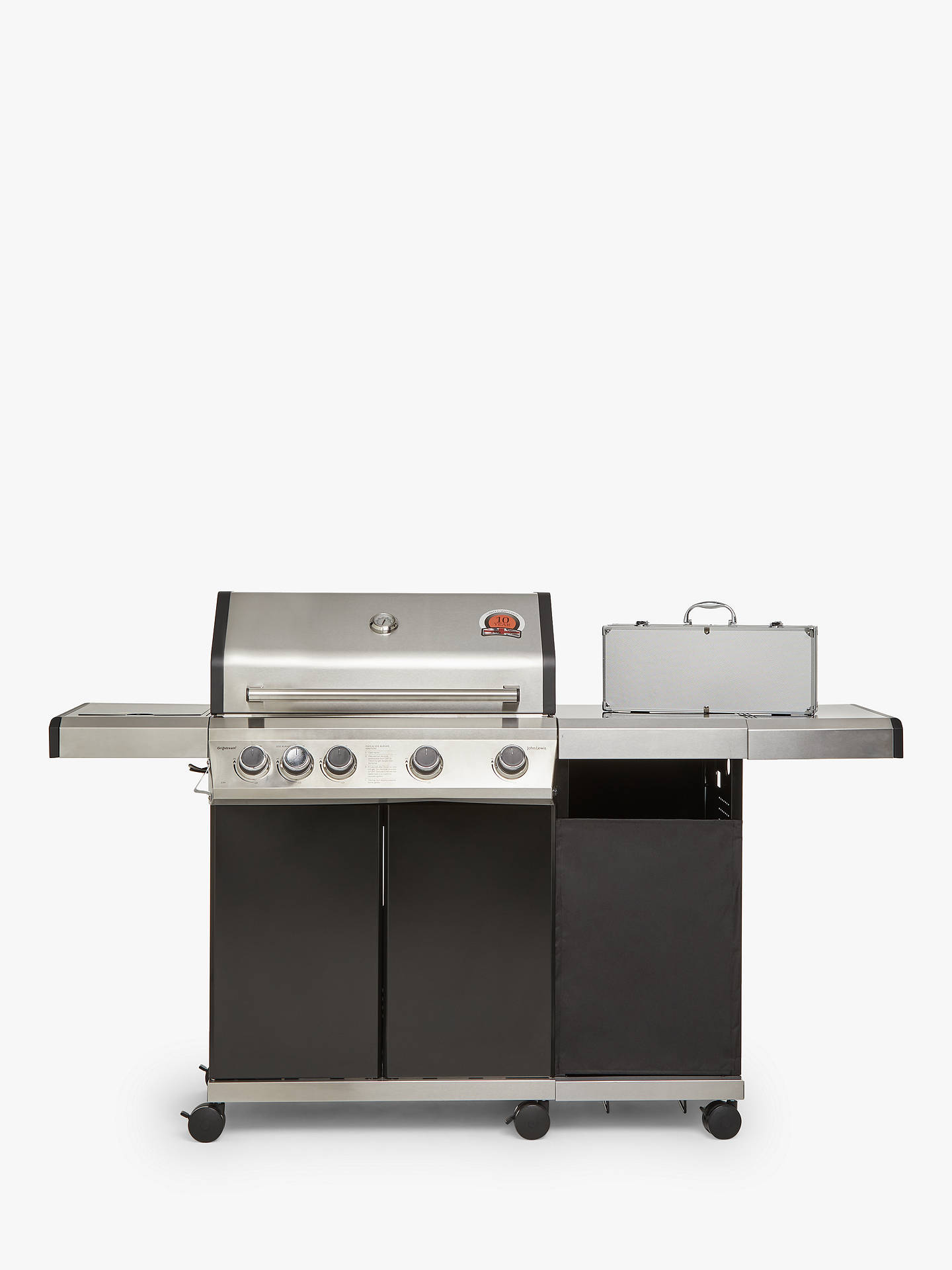 3c1d0949 ... Buy John Lewis & Partners 4 Burner Gas BBQ, Silver/Black Online at  johnlewis ...