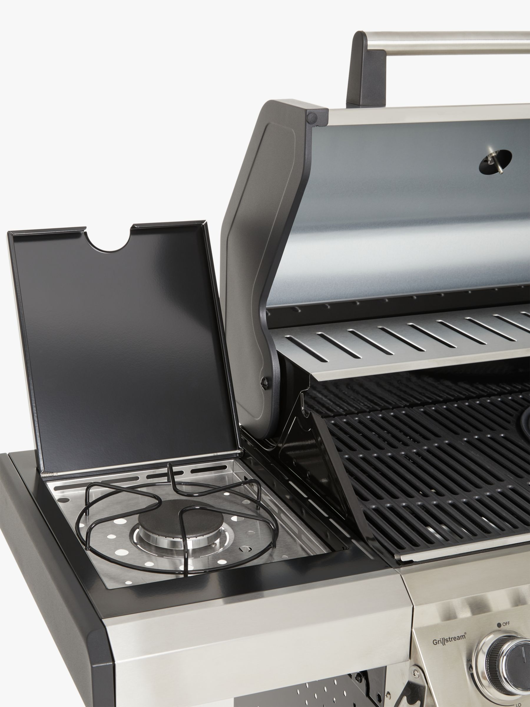 John Lewis & Partners 4 Burner Gas BBQ, Silver/Black