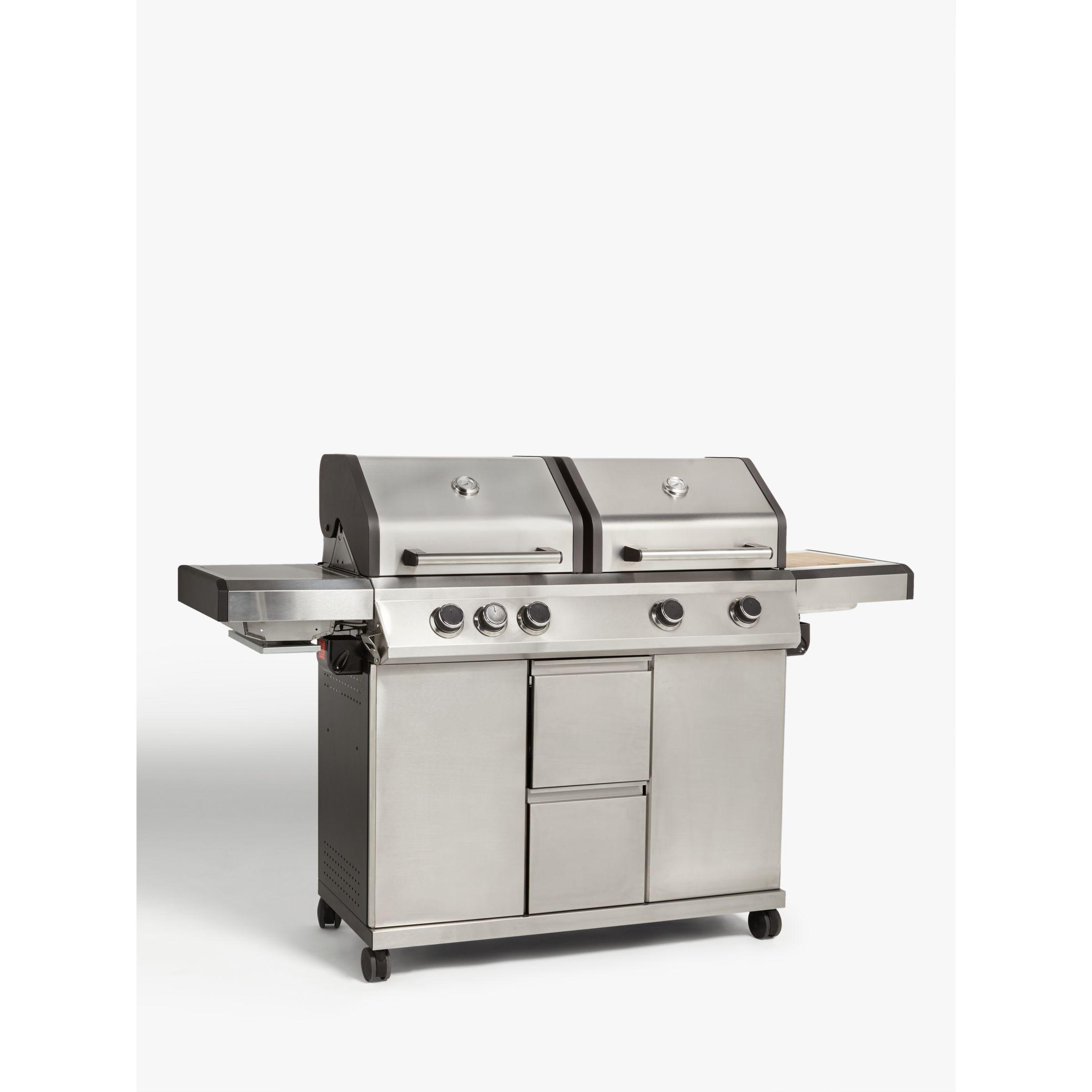 John Lewis & Partners Dual Hood 5 Burner Gas/Charcoal BBQ, Silver/Black