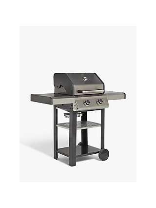 John Lewis & Partners 2 Burner Gas BBQ, Silver/Black