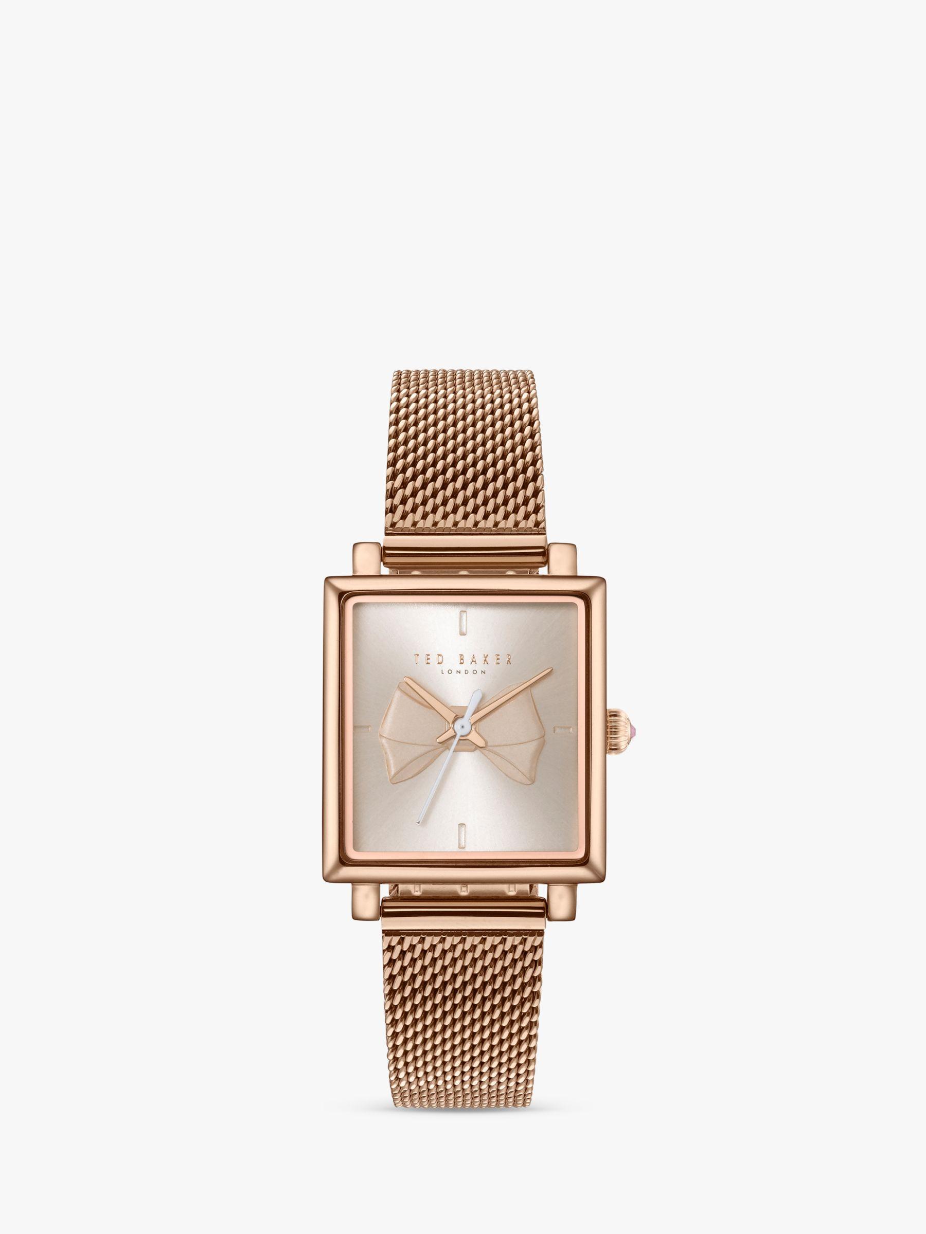 Ted Baker Women's Isabella Bow Bracelet Strap Watch, Rose Gold/Silver  TE50516004