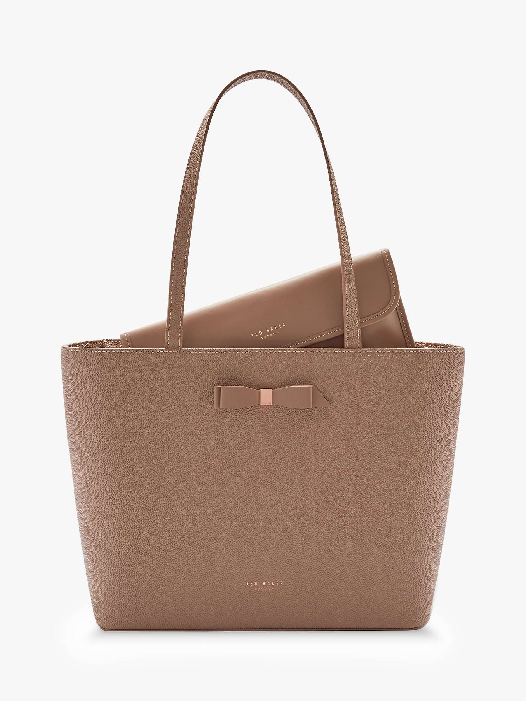 Ted Baker Jessica Bow Leather Per Bag Taupe