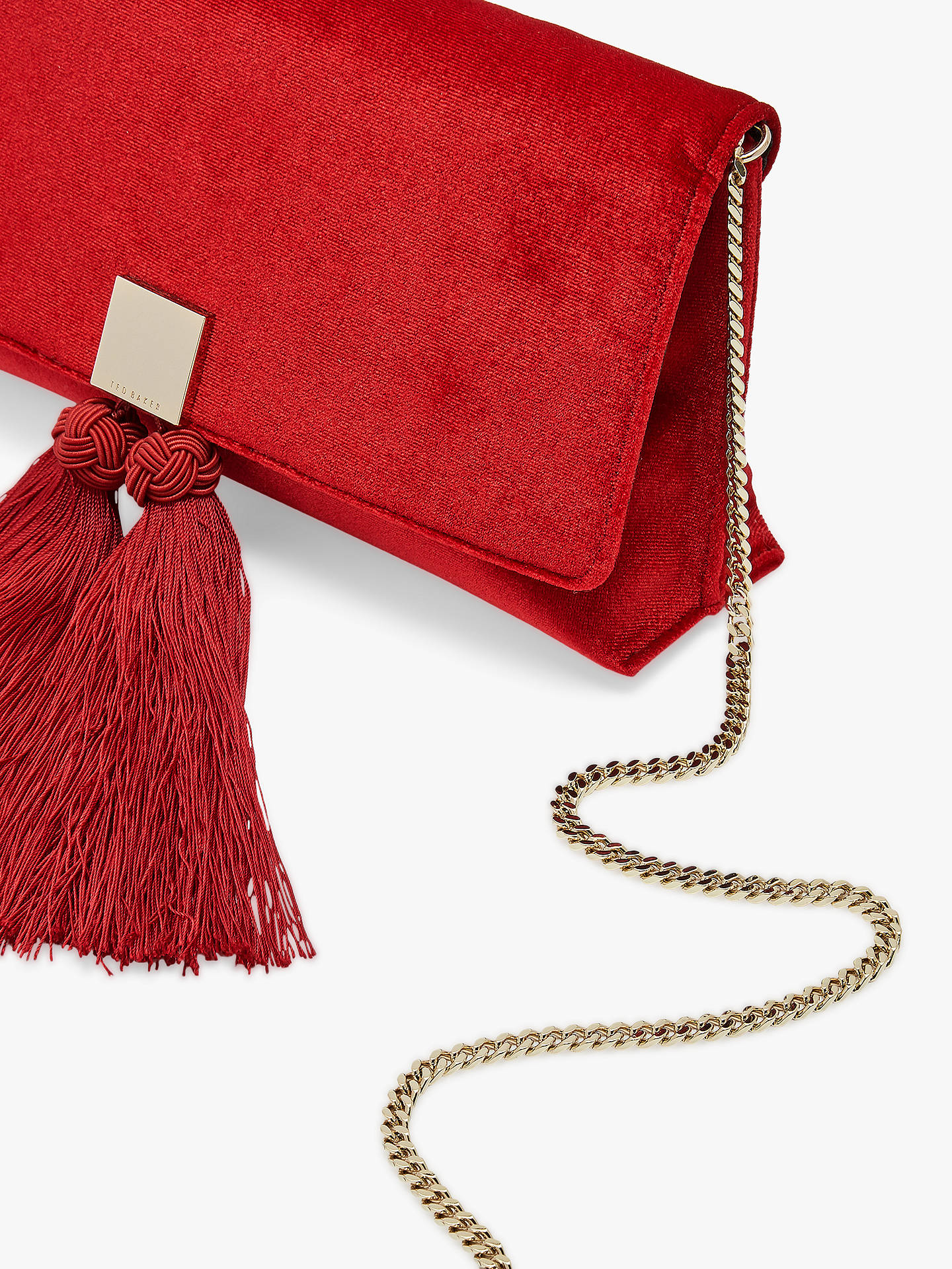BuyTed Baker Karly Tassel Evening Clutch Bag, Mid Red Online at johnlewis.com