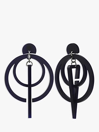 Toolally Classic Sundial Drop Earrings, Navy