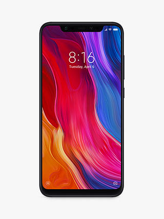 "Buy Xiaomi Mi 8 Dual SIM Smartphone, Android, 6.21"", 4G LTE, SIM Free, 128GB, Black Online at johnlewis.com"