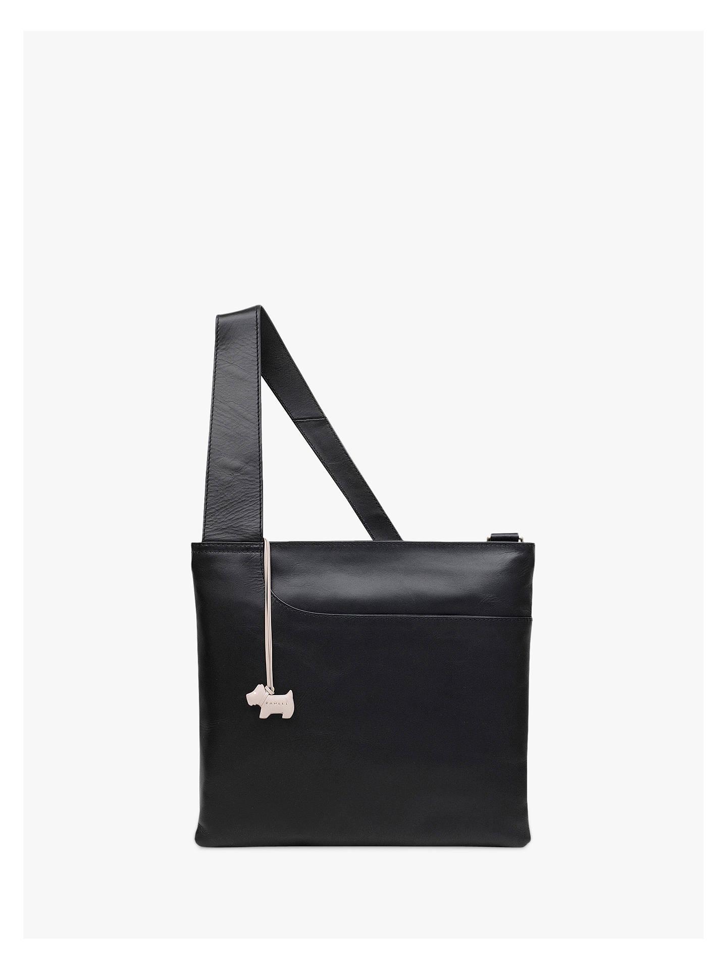 ee248360b75d01 Buy Radley Pockets Leather Large Zip Top Cross Body Bag, Black Online at  johnlewis.