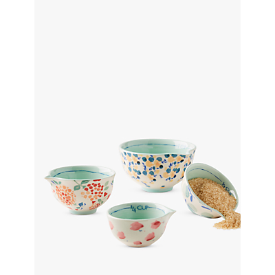 Anthropologie Delilah Stoneware Nesting Measuring Cups, Set of 4, Assorted