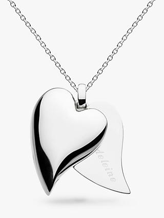 Kit Heath Personalised Desire Treasured Love Affair Large Heart Pendant Necklace, Silver