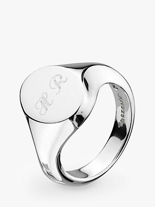 Kit Heath Bevel Curve Heirloom Personalised Sterling Silver Signet Ring, Silver