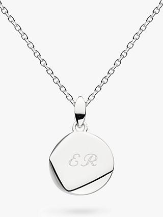 49d2061ad2cbe5 Kit Heath Personalised Sterling Silver Coast Facet Round Pendant Necklace,  Silver