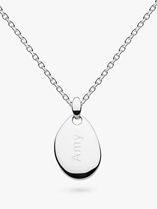 Kit Heath Personalised Sterling Silver Coast Small Pebble Necklace, Silver