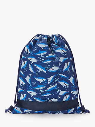 John Lewis & Partners Children's Shark Drawstring Bag