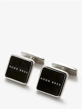 HUGO by Hugo Boss Stev Square Logo Cufflinks, Black