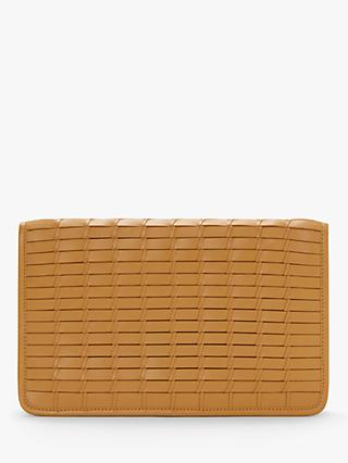 John Lewis & Partners Aria Leather Woven Clutch Bag