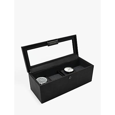 Stackers Glass 4 Watch Box, Black