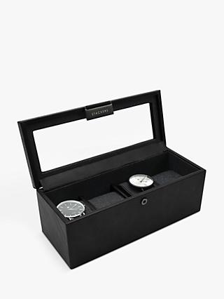 Stackers Glass 4 Watch Box, Black