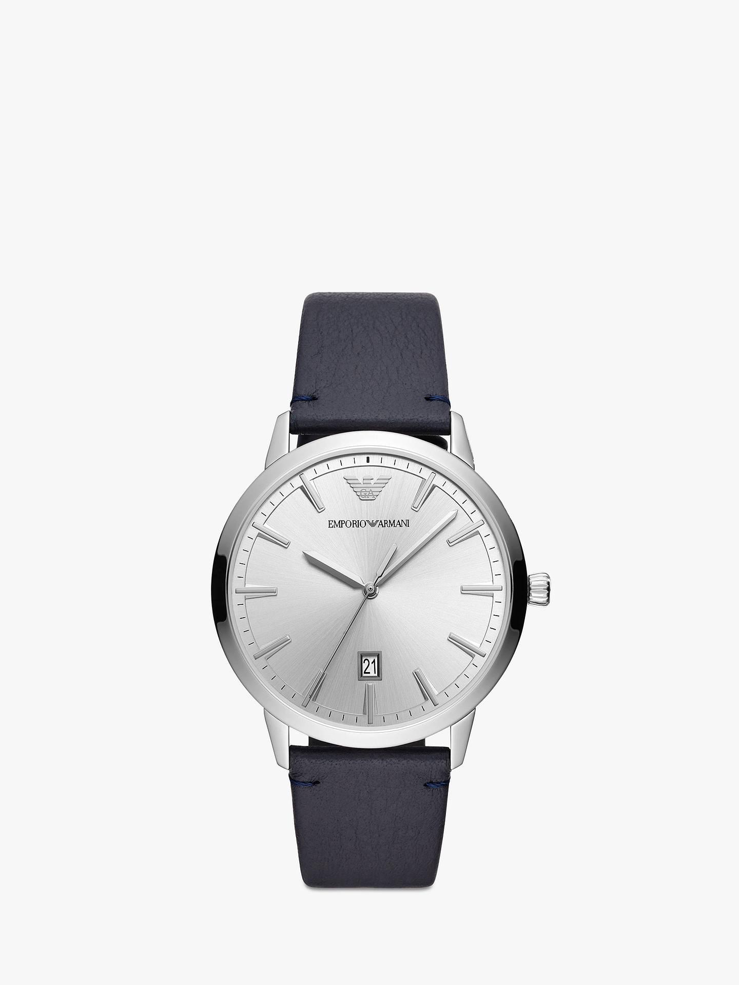 3901b070 Emporio Armani Men's Date Leather Strap Watch, Navy/Silver AR11194
