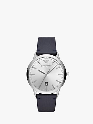 Emporio Armani AR11194 Men's Date Leather Strap Watch, Navy/Silver