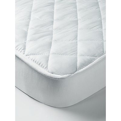 John Lewis & Partners Micro-Fresh Cotton Wateproof Cot Mattress Protector, White