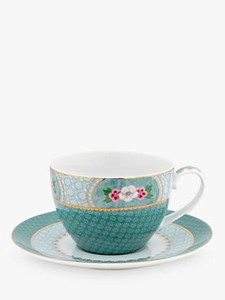 Pip Studio Blushing Birds Cup and Saucer, 280ml, Blue/Multi