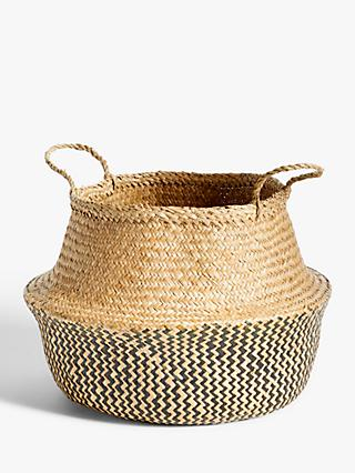 John Lewis & Partners Fusion Black Patterned Seagrass Storage Basket