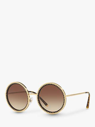 Dolce & Gabbana DG2211 Women's Round Sunglasses, Gold/Brown Gradient