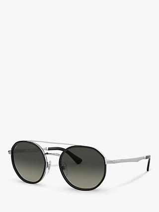 Persol PO2456S Women's Oval Sunglasses, Silver/Black Gradient