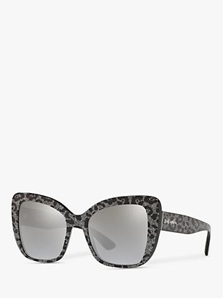 Dolce & Gabbana DG4348 Women's Cat's Eye Sunglasses, Black Glitter/Mirror Silver