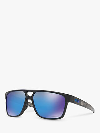 Oakley OO9382 Men's Crossrange Prizm Patch Square Sunglasses, Matte Black/Mirror Blue
