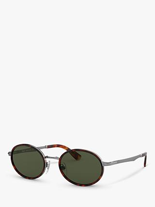 Persol PO2457S Women's Oval Sunglasses, Gunmetal/Green