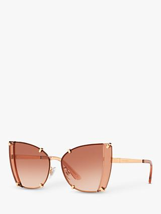 Dolce & Gabbana DG2214 Women's Cat's Eye Sunglasses, Gold/Pink Gradient