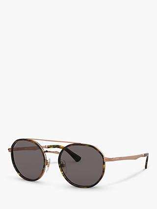 Persol PO2456S Women's Oval Sunglasses, Copper/Black