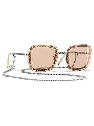 4d641bcbc336 CHANEL Square Sunglasses CH4244 Silver Brown