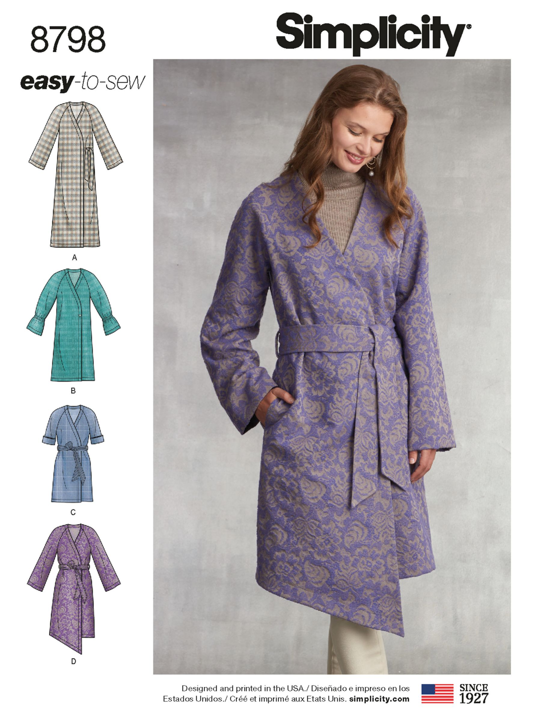 Simplicity Simplicity Women's Coat Sewing Pattern, 8798