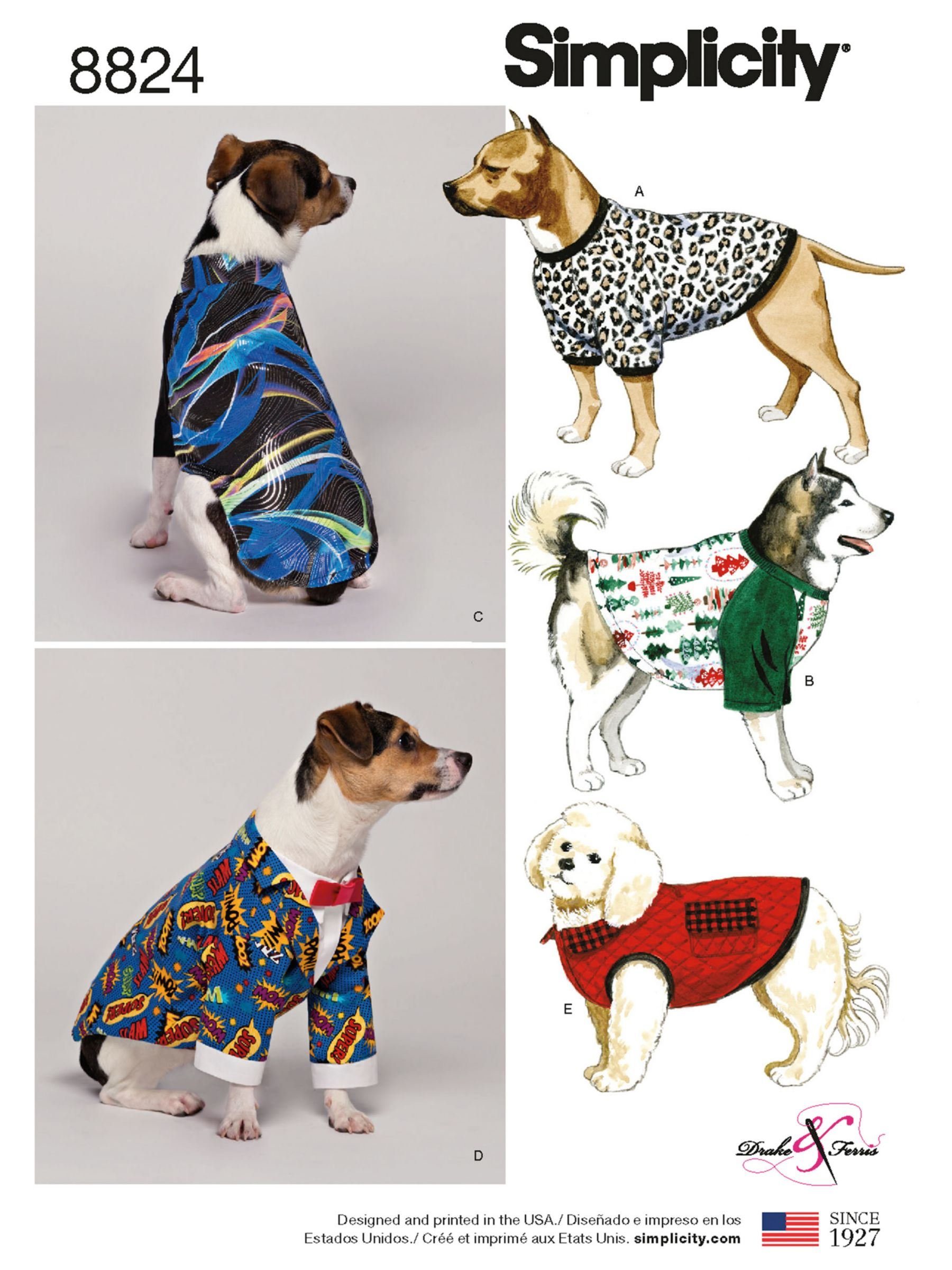 Simplicity Simplicity Dog Coat Sewing Pattern, 8824