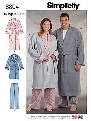 Simplicity Women s and Men s Robe Sewing Pattern 1ceac6fa3