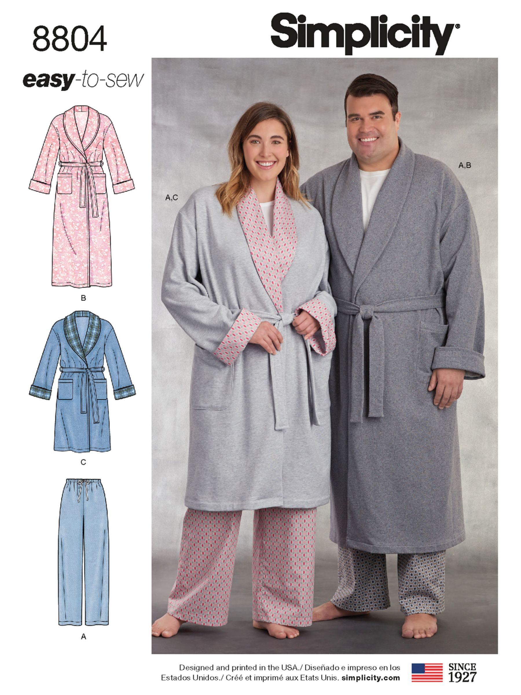 Simplicity Simplicity Women's and Men's Robe Sewing Pattern, 8804