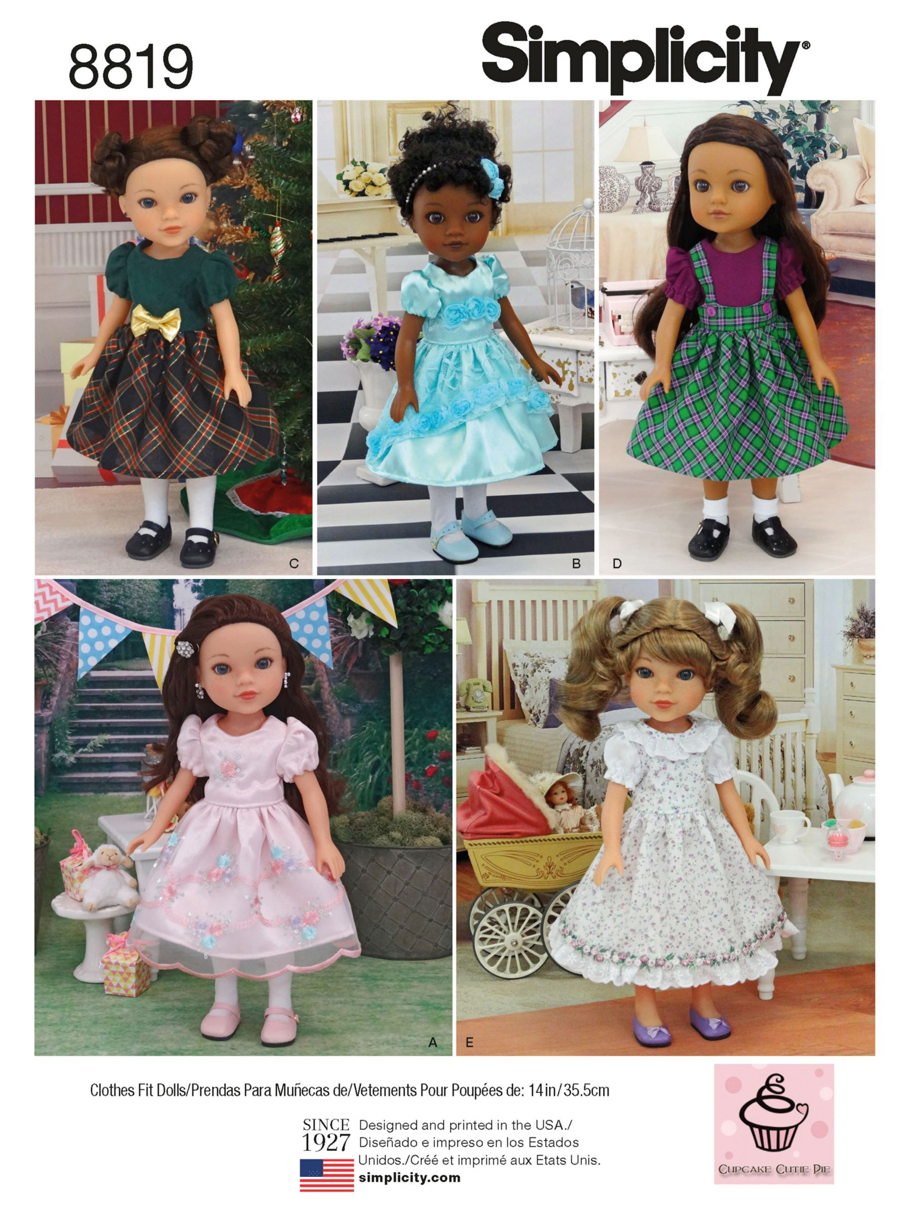 Simplicity Simplicity Children's Doll's Dresses Sewing Pattern, 8819