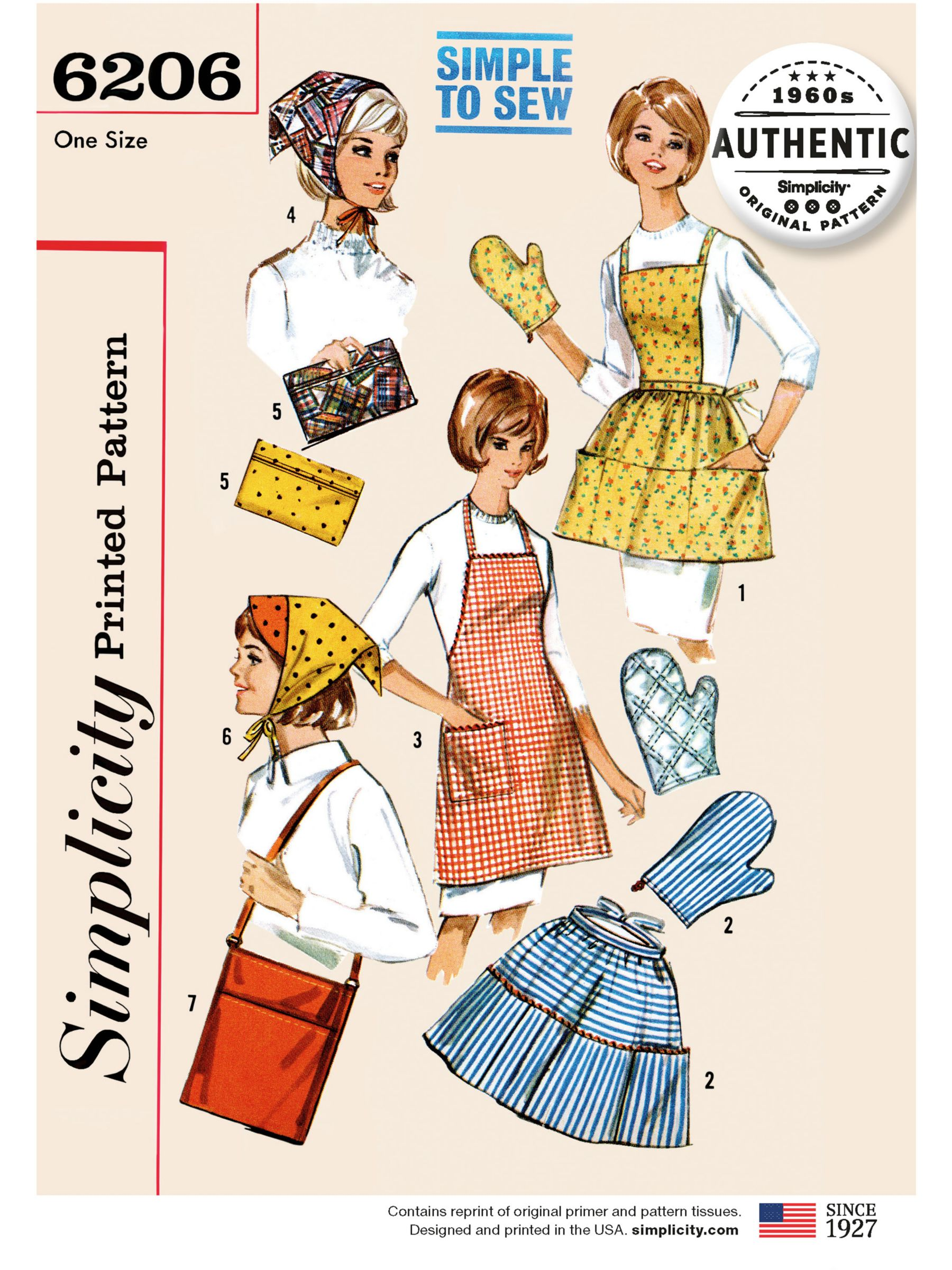 Simplicity Simplicity Women's Vintage Apron and Oven Gloves Sewing Pattern, 6206