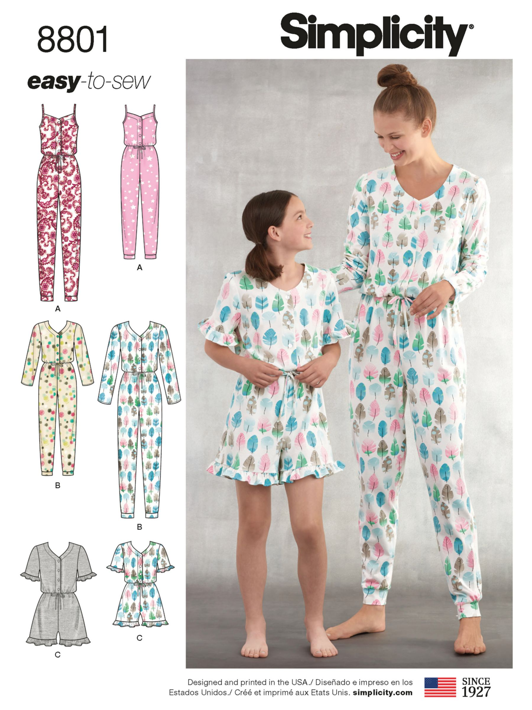 Simplicity Simplicity Women's and Children's Onesie Sewing Pattern, 8801