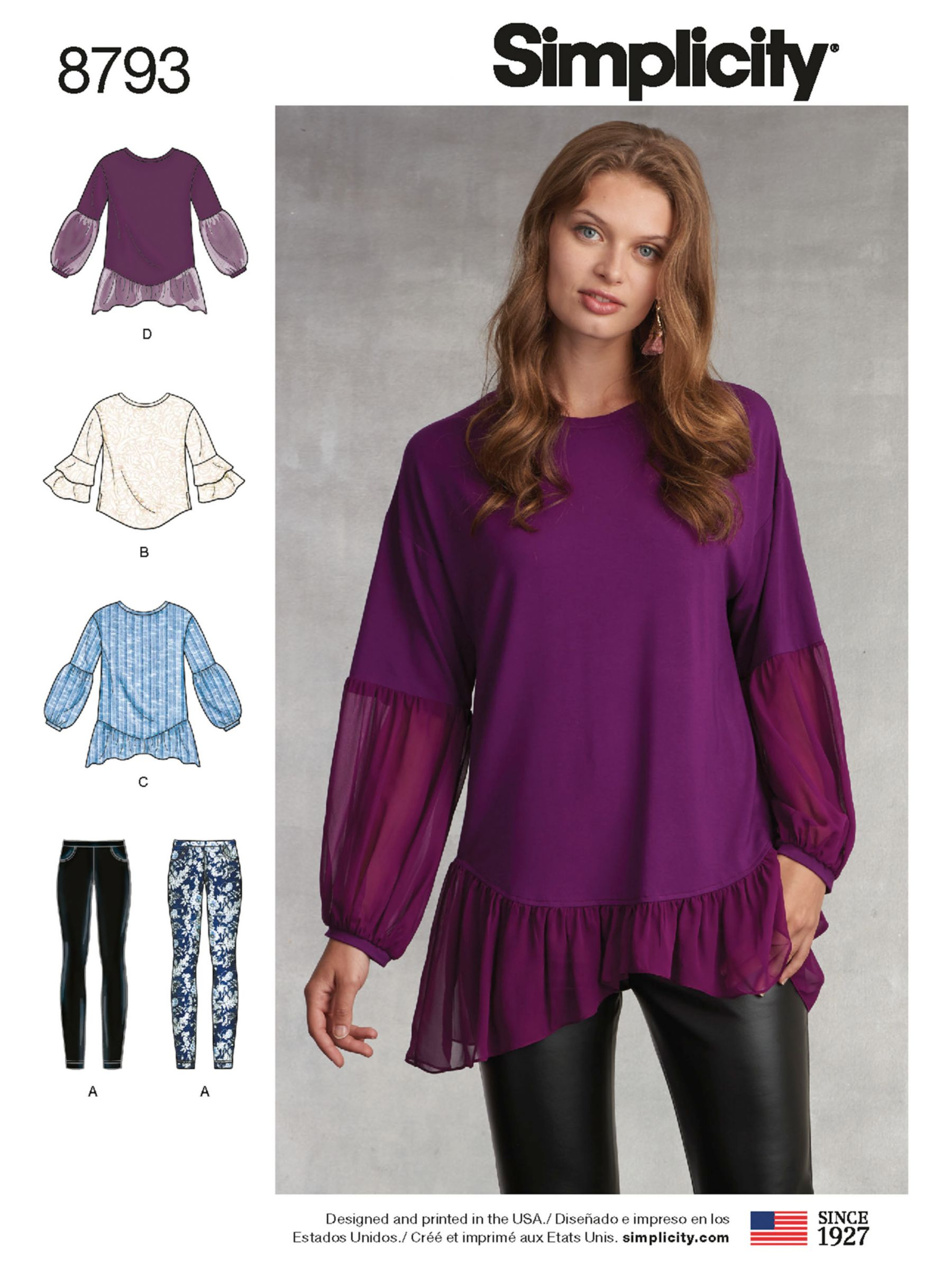Simplicity Simplicity Women's Tunic Top and Leggings Sewing Pattern, 8793