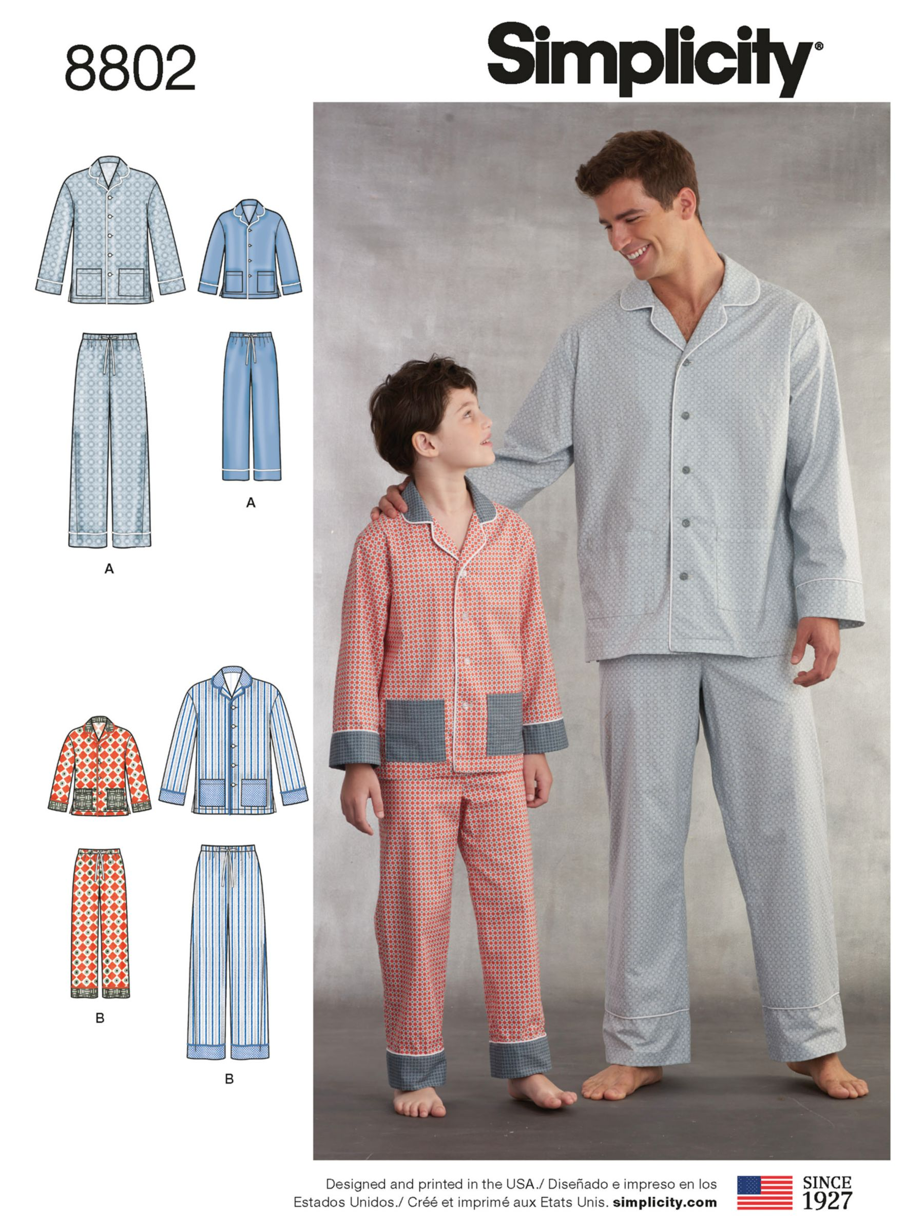 Simplicity Simplicity Men's and Children's Pyjama Sewing Pattern, 8802